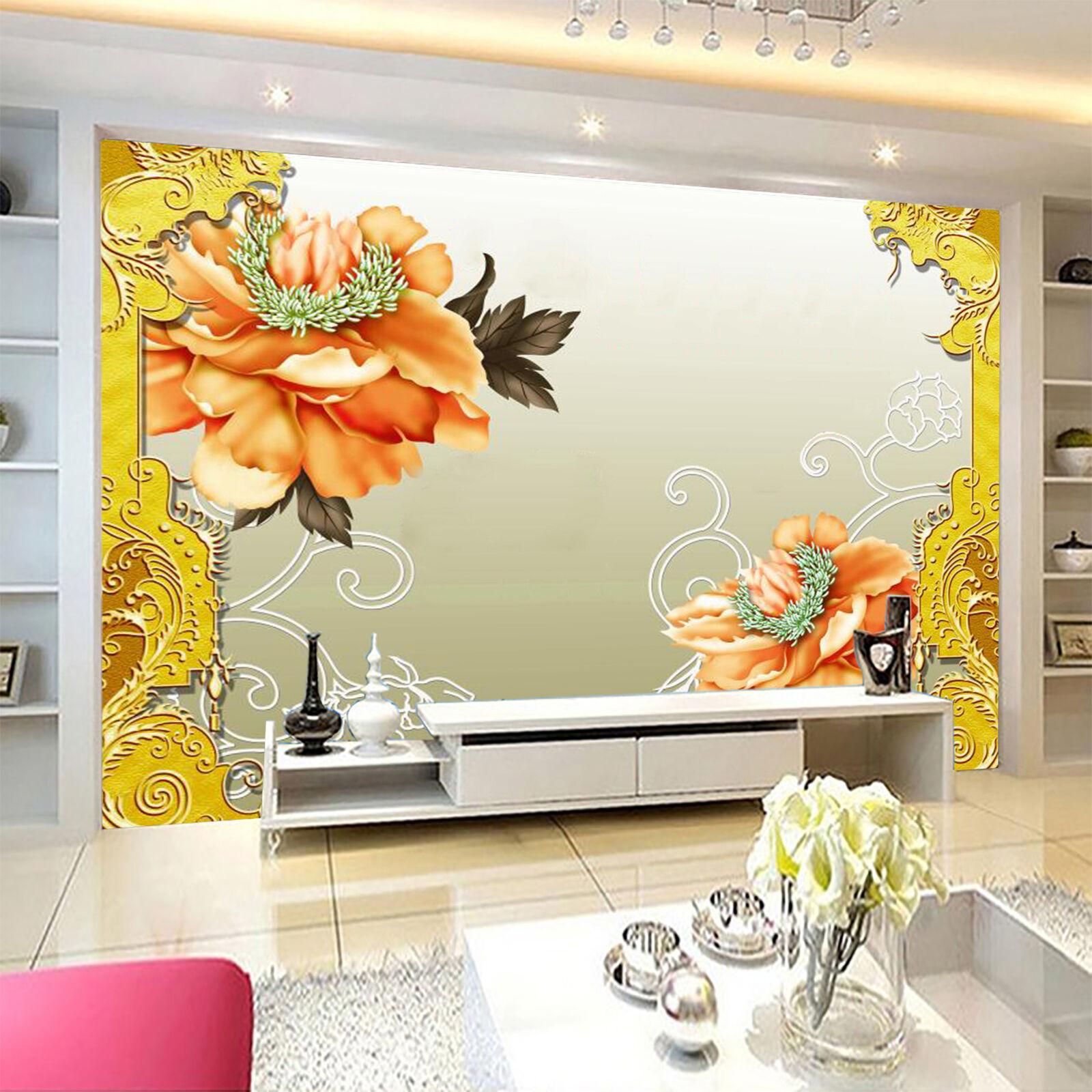 3D Orange blumen 725 Wandbild Fototapete Bild Tapete Familie Kinder DE Lemon