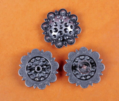 "Set of 5 WESTERN HORSE SADDLE TACK 1-3//8/"" RETRO SILVER BERRY CONCHOS SCREW BACK"