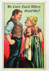 Antique-Vintage-FLIRT-DATING-Postcard-WE-LOVE-EACH-OTHER-DONT-WE-Fight-Knife
