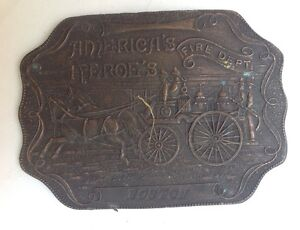 Fire-Dept-Boston-Belt-Buckle-Style-Plaque-Display-Vintage-American-Classic