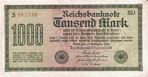 Germany Papiermark banknote year 1922 1000  tausend mark Weimar Republic