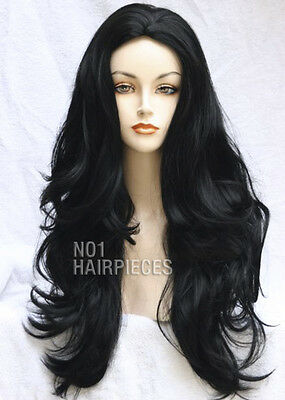 NEW BLACK / DARK BROWN WOMEN'S LADIES WIG HEAT RESISTANT LIKE REAL HAIR 10 + CAP