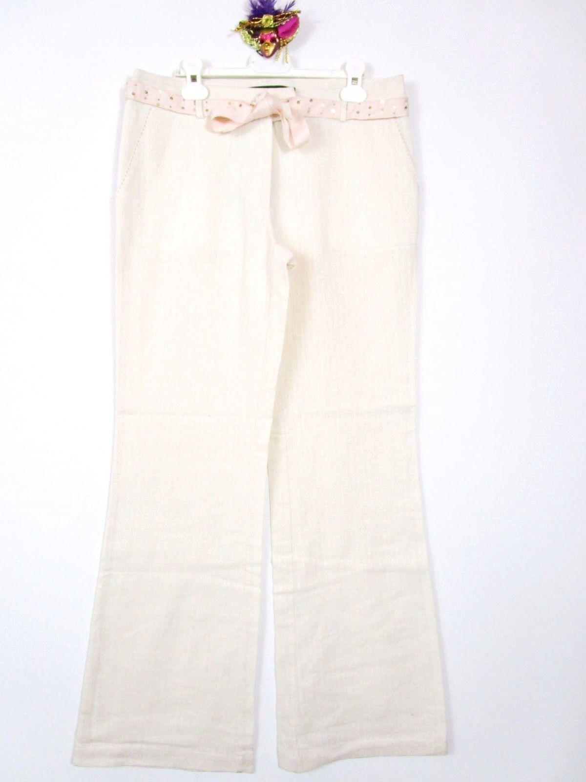 Malou Sander Muus damen damen damen Danish Design Fashion Linen Cotton Trousers sz 38 AZ12 e453d8