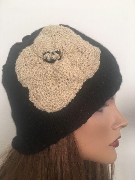 c3a2a3aed5b Hand Knits 2 Love Hat Beanie Flower Shiny Designer Fashion Hip Gift Birthday