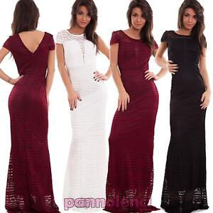 Vestito-donna-abito-lungo-pizzo-sirena-aderente-manica-corta-sexy-nuovo-TF-2340