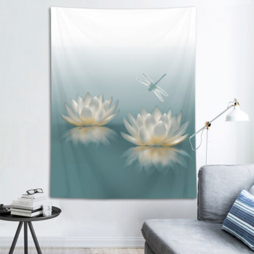 Water Lily Reflection Dragonfly Tapestry Wall Hanging Living Room Bedroom Dorm