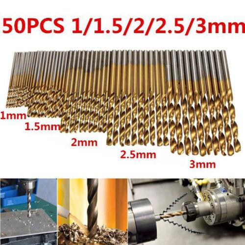 50Pcs Titanium Coated HSS High Speed Steel Drill Bit Set Tool 1//1.5//2//2.5//3mm U7