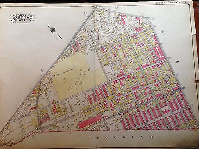 1929 RIDGEWOOD QUEENS NY GROVER CLEVELAND HS LINDEN HILL CEMETERY ATLAS MAP