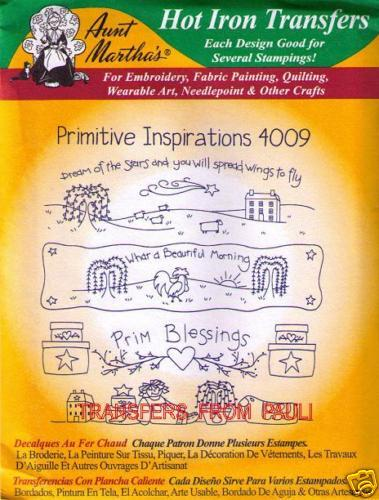 Primitive Inspirations Aunt Martha/'s Hot Iron Embroidery Transfer #4009
