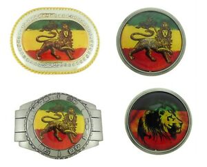 Reggae Rastafarian Belt Buckle Jamaican Dub Leaf Weed Mountain Lion Judah Metal
