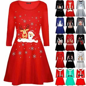 Kids Girls Christmas Santa Claus Father Suit Belted Costume Swing Flared Dress