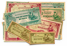 25 mixed Burma WW2 1940's Japanese invasion paper money circulated