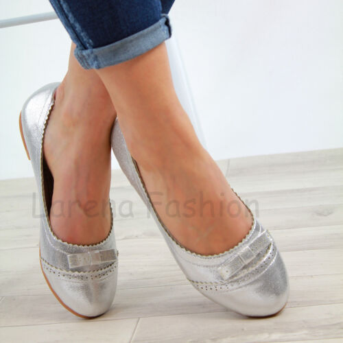New Womens Casual Pumps Bow Slip On Ballerina Flat Loafers Comfy Shoes Sizes