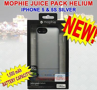 NEW MOPHIE JUICE PACK HELIUM BATTERY CASE FOR iPHONE 5 & 5S 1500 mAh SILVER NEW! | eBay