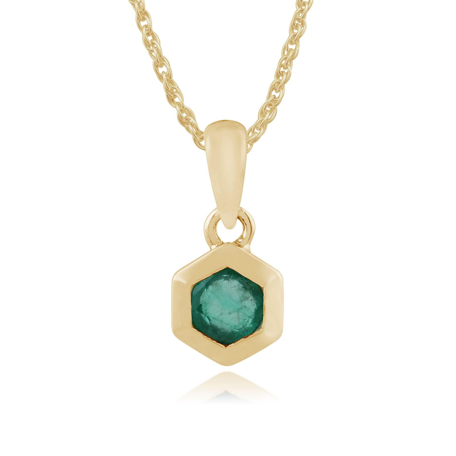 Gemondo 9ct Yellow gold 0.23ct Emerald Hexagon Pendant on Chain