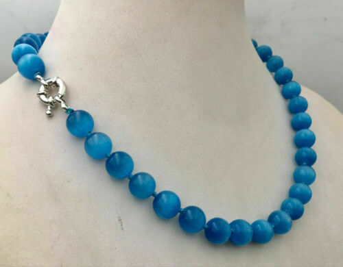 "Pretty 10 mm Bleu Oeil de Chat Pierre Opal Round Beads Gems collier 18/"" AAA"