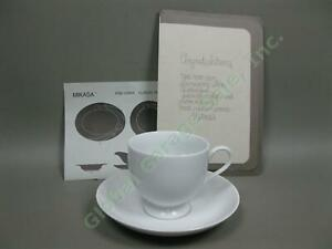 8 Mikasa Classic Flair Footed Tea Coffee Cups + Saucers Set Embossed Calla Lily