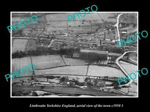 OLD-LARGE-HISTORIC-PHOTO-LINTHWAITE-YORKSHIRE-ENGLAND-AERIAL-VIEW-TOWN-c1950-2
