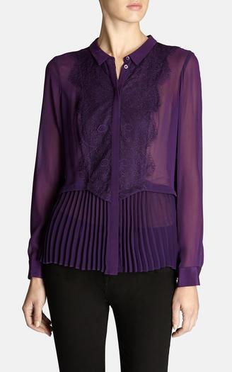 KAREN MILLEN lila lace silk pleated peplum hem blouse shirt top victorian 8 36