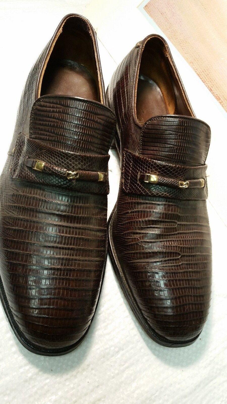 Men's Foot Joy Full Lizard Loafer Dress shoes Dk Brown sz 8. D  USA  VGC
