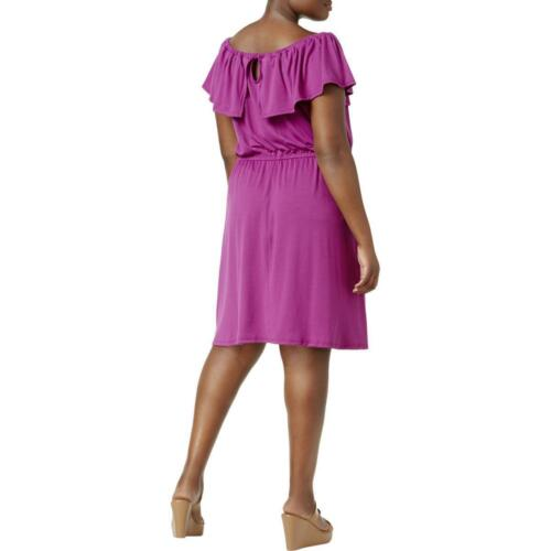 NY Collection Plus Size Off-The-Shoulder Sun Dress 1X Rose Violet #4103