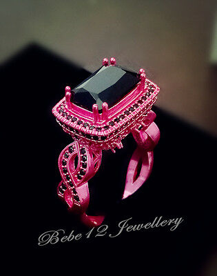 Large aSimulated Black Diamond Ring/Pink gold/R114