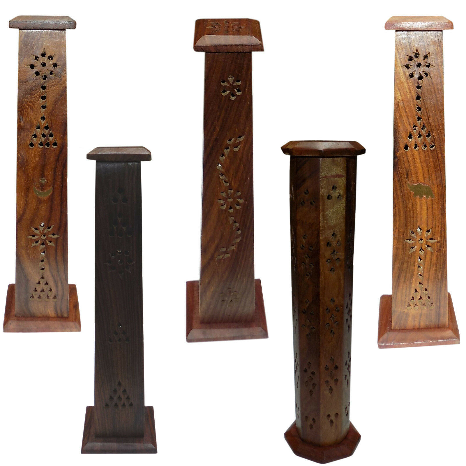 Wooden Carved Incense Burner Cone Holder Tower 12  Hand Carved Brass Inlay