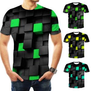 3D-hipnosis-remolino-imprime-Hombre-Mujer-Casual-Manga-Corta-Camiseta-Gracioso-Camiseta-Prendas-para