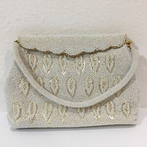 Vintage-60s-Ivory-Beaded-Hand-Bag-Purse-Leaf-Pattern-Off-White-6-x-10-Wedding