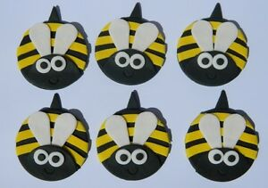 12 Edible Large Bees Cake Cupcake Topper Decoration