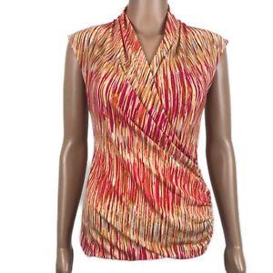 Vince-Camuto-Sleeveless-Faux-Wrap-Stretch-Knit-Blouse-Top-Draped-Orange-Sz-PS