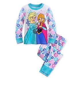 Disney-Store-Frozen-Elsa-amp-Anna-Pajamas-2pc-Set-Girls-PJ-039-s-Size-2-amp-Size-6-NEW