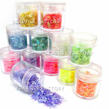 12 Color Icy Mylar Glitter Sheets 10g Big Jar Nail Art Decoration Salon Tips 418