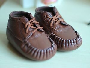 1 Baby newborn Kids Boys Real Genuine Cow Leather Soft First black brown shoes