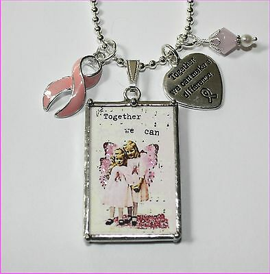 BREAST CANCER FIND A CURE LITTLE PINK ANGELS REVERSIBLE POSTCARD NECKLACE