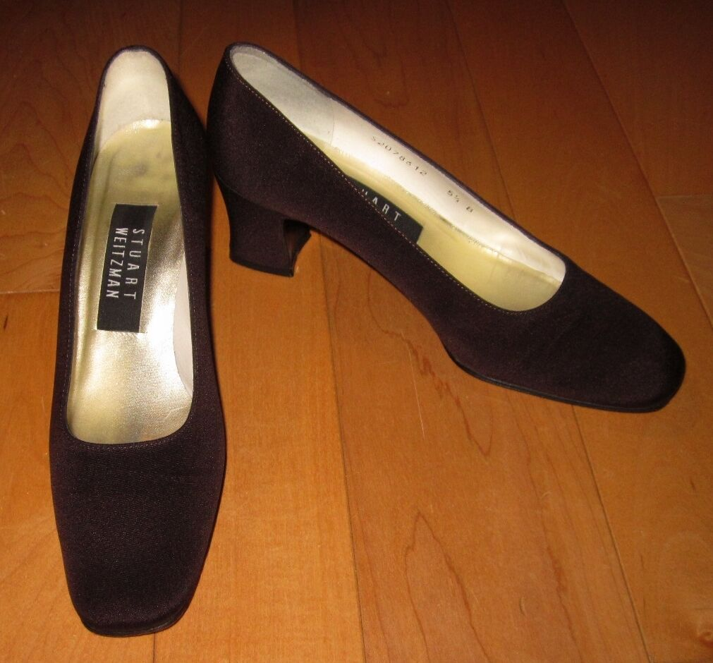 Stuart Weitzman Damenschuhe Braun Satin-Like Fabric Heels 5.5 B  SHARP MUST C
