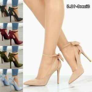Women-Ladies-High-Heels-Pointed-Toe-Pumps-Ankle-Buckle-Strap-Dress-Shoes-Sandals