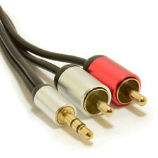 3m Aluminium PRO 3.5mm Stereo Jack to 2 RCA Phono Plugs Cable Gold [007525]