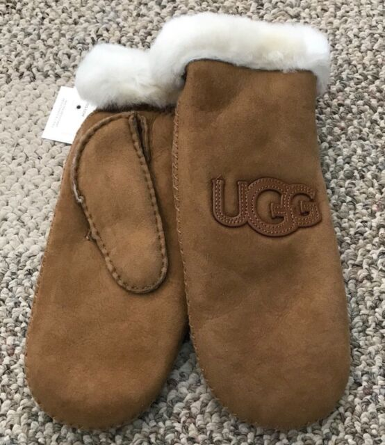 eafd8c424dcc0 UGG Womens Sheepskin Heritage Logo Winter Mittens Chestnut Size L XL  Twinface