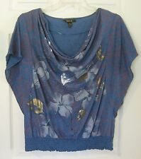 Style & Co Size L Blue Dolman Sleeve Drape Neck Floral Top Batwing Shirt