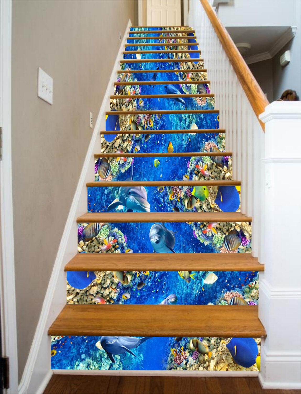 3D bluee ocean fish 587 Risers Decoration Photo Mural Vinyl Decal Wallpaper US