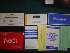 2002 DODGE / PLYMOUTH NEON OWNER'S MANUAL SET / ORIGINAL GUIDE BOOK SET