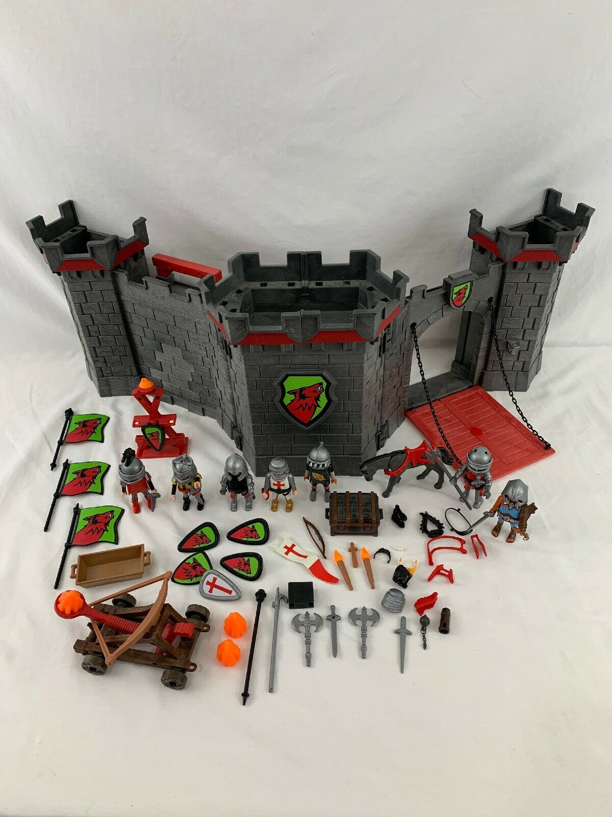 2007 Playmobil Knights Take Along Castle rosso Wolf Theme 5803 Play Mobil