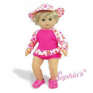 """15/"""" Hot Pink Ruffle Bathing Suit /& Sun Hat fit 15/"""" Baby Girl Bitty Doll"""