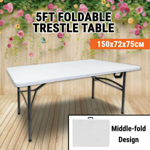 5FT Trestle Table Middle Foldable 150x72x75 cm Portable Picnic Blow Moulded BBQ