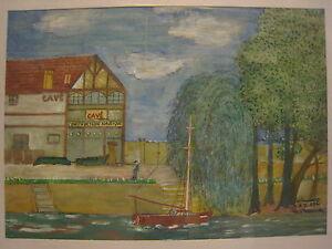 Claude-BOUSSIER-ATELIER-CAVE-LE-PERREUX-Gouache-sur-papier-ART-NAIF