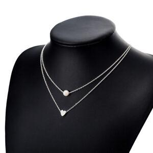 Women-Silver-Girls-Pendant-Pearl-Chain-Choker-Heart-Pendant-Gift-Necklace