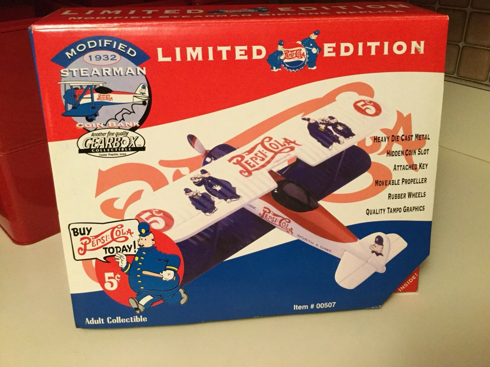 96 Gear BOX--Diecast Airplane--Limited Edition Pepsi Cola 1932 Stearman Biplane Biplane Biplane cc354f