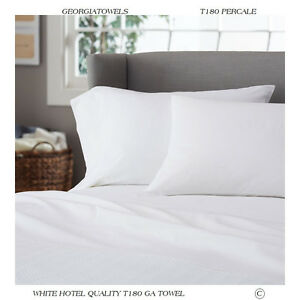 4 white t-180 inn hotel motel resort percale pillow cases 20x30 standard size