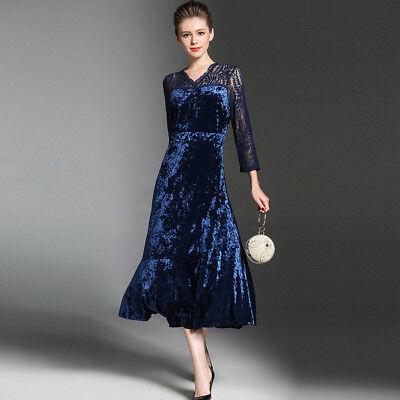 Kleid 4157Ebay Damen Hülle Blau Schlank Weich Samt Elegant Lang HD9I2WE